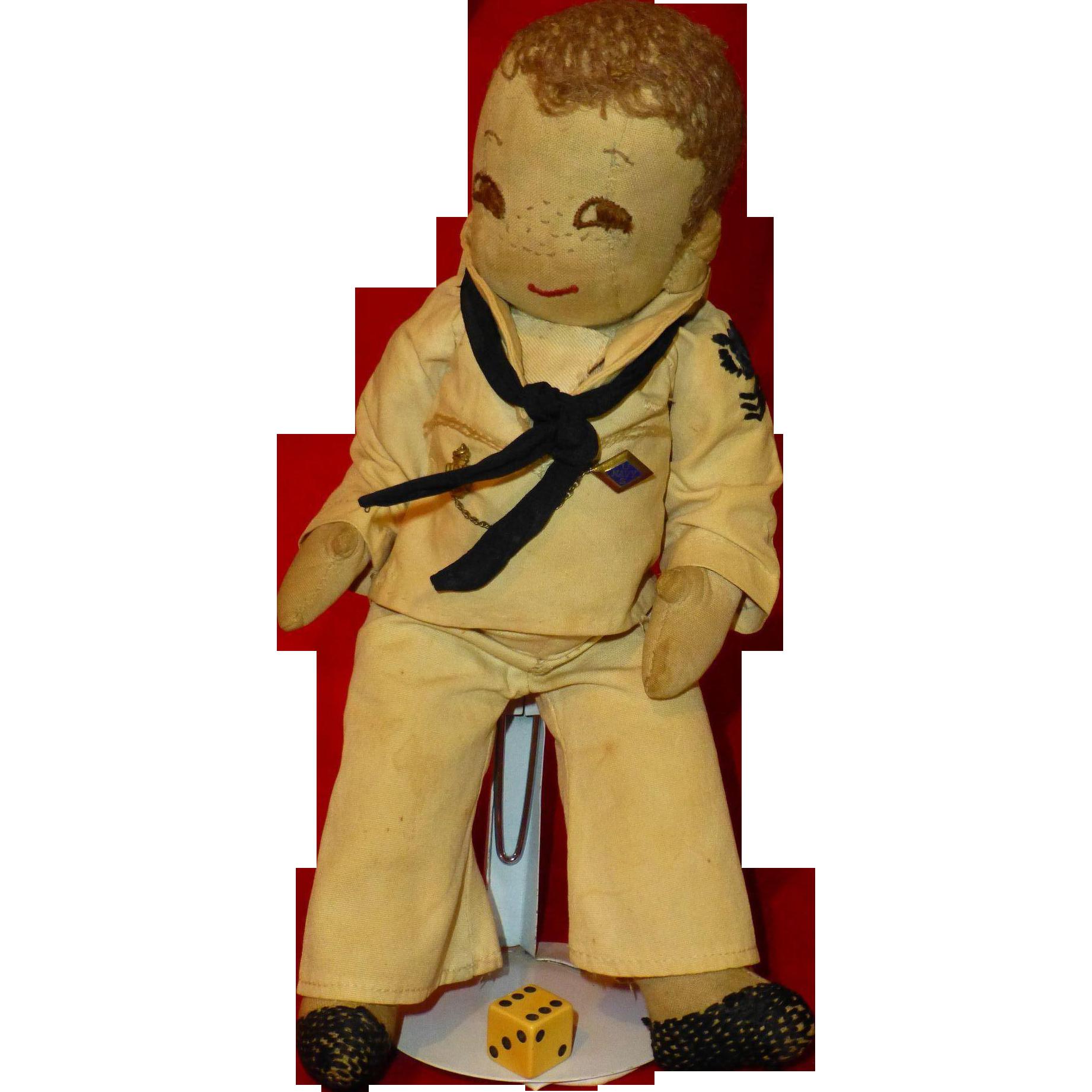 Antique Us Navy Sailor Doll Hand Made 1800 S Militaria Folk Art Rubylanecom Folkart Rubylane Sailor Doll Navy Sailor Folk Art