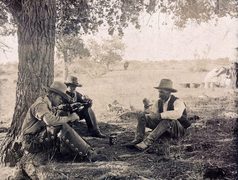 1908 Photo Cowboys Chow Chaps Hats Antique View Oklahoma