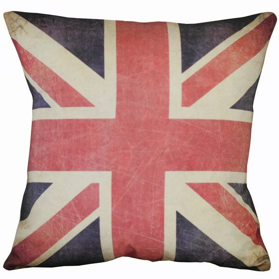 Vintage British Flag Union Jack Burlap by ElliottHeathDesigns, $35.00