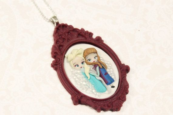 Anna and Elsa cameo necklace inspired by the by CandyDesignCrea, €22.00