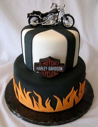 Harley Davidson Birthday Cake Round Tiered White Black Orange Flame