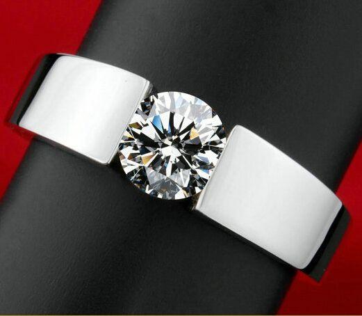 Klassische Verlobungsring männer 18 Karat reales weißes gold überzogen AAA Pfeile CZ Diamant liebhaber promise Ring für männer frauen