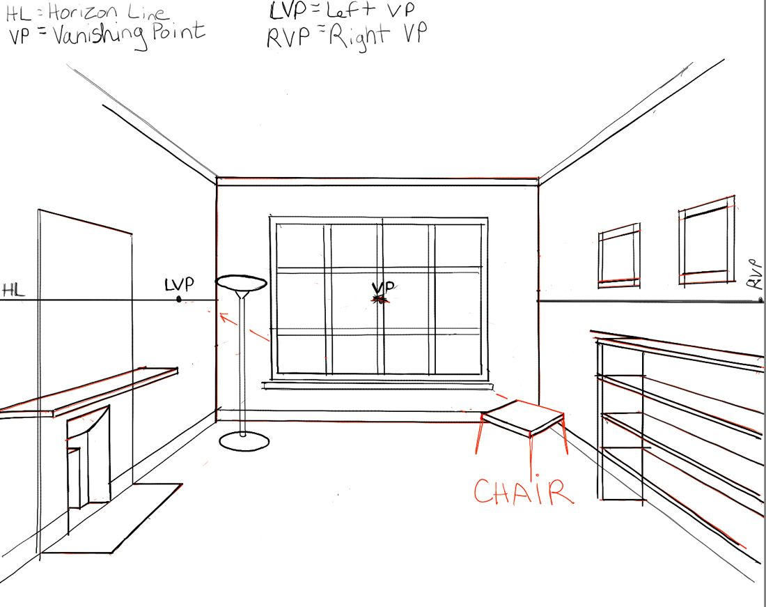 How To Draw The Inside Of A Room With 3 Point Perspective Techniques Step By Step Drawing Tutorial How To Draw Step By Step Drawing Tutorials Perspective Room One