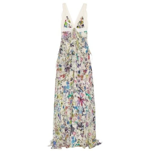 Roberto Cavalli Astro Garden-print silk-georgette gown ($2,849) ❤ liked on Polyvore featuring dresses, gowns, multi, white empire waist dress, white floral dress, evening maxi dresses, empire waist dress and empire waist maxi dress