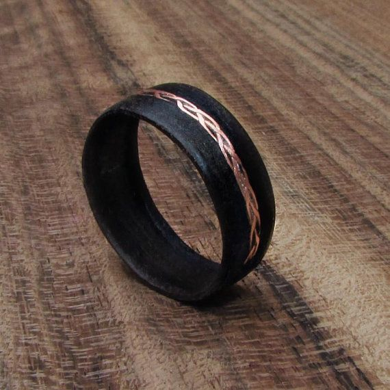 Black Wooden Ring For Women Wood And Copper Wedding Band Braided