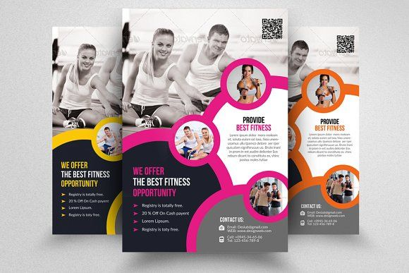 Body Fitness Club Flyer Template by Design Up on @creativemarket - fitness flyer template