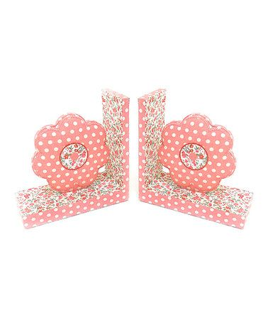 Take a look at this Pink Flower Fabric Bookend - Set of Two by Concepts on #zulily today!