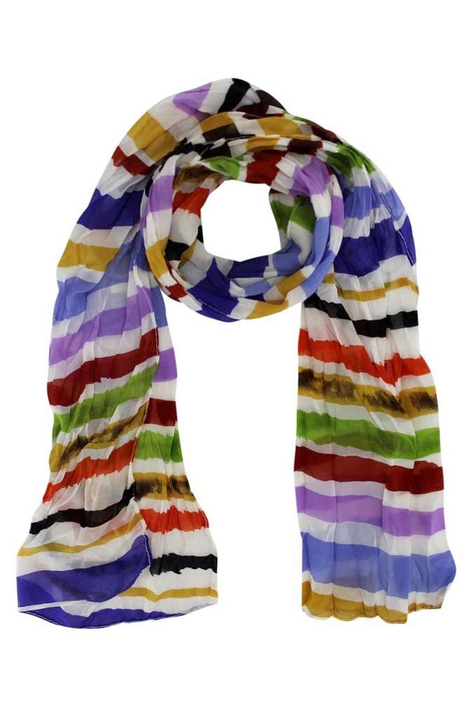 Striped Long Crinkle Scarf