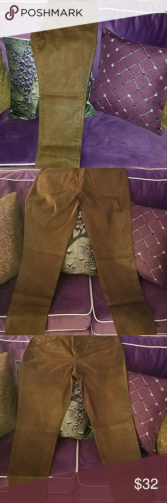 New Dark Camel Chestnut Wax Coated Skinnies! These are brand new Gorgeous deep Camel wax coated jeans size 14 never got to wear these. You'll love them. They have a nice creasing made into the jeans very nice. They feel like they may have a tad of stretch. Jeans Skinny