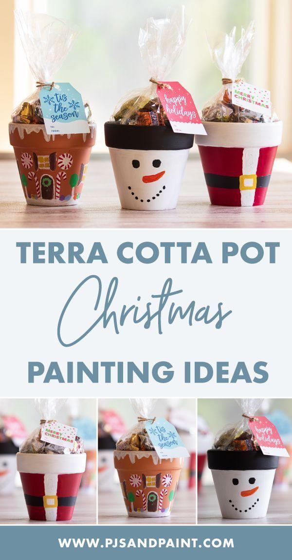 Terrakottatopf Weihnachten basteln | Weihnachtsmann, Schneemann, Lebkuchenhaus