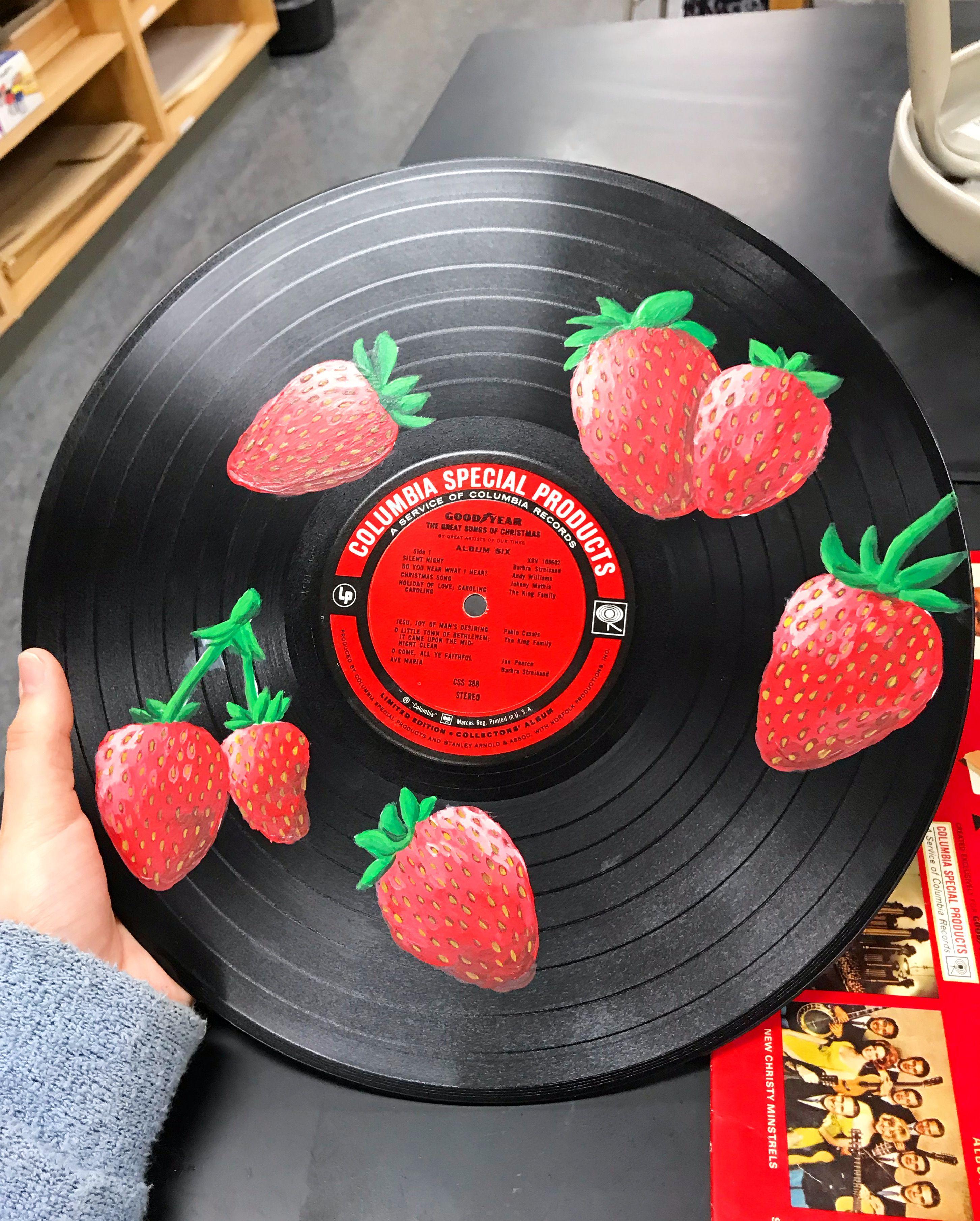 Strawberry Painting On Vinyl Record Vinyl Painted Vinyl Record Art Ideas Vinyl Art Paint