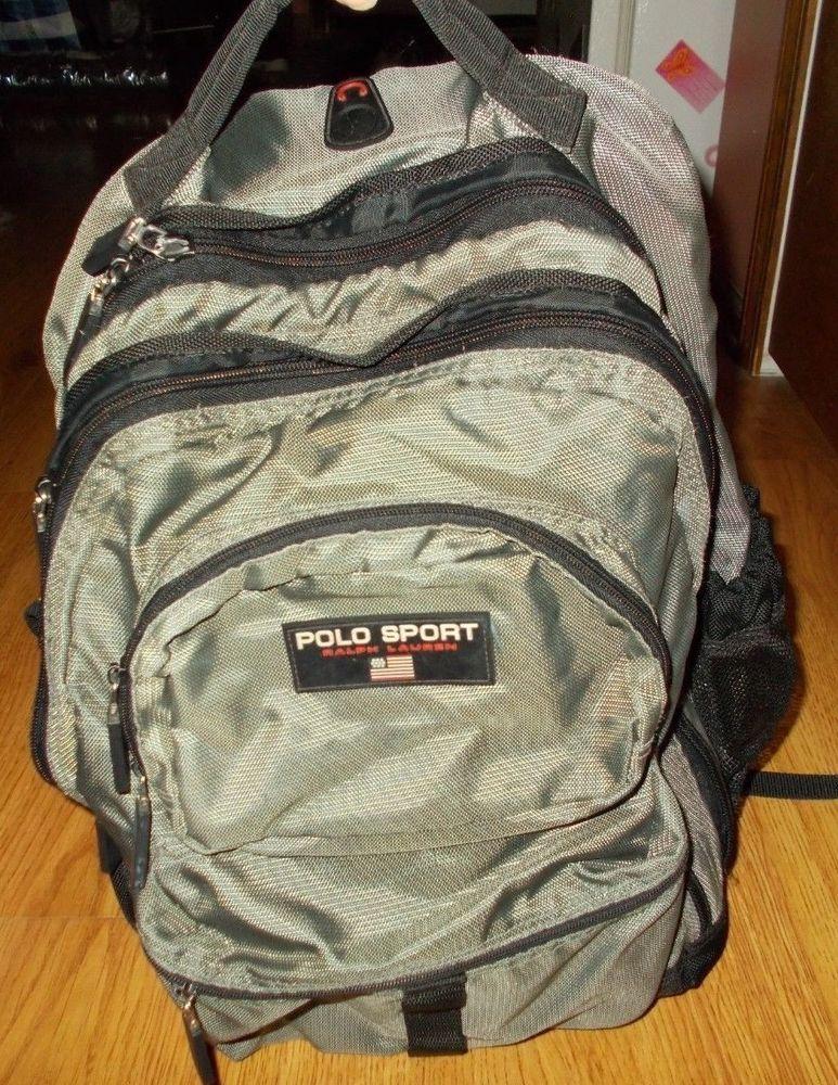 85a9b5ffd9 Vintage Polo Sport Ralph Lauren Dark Grey Gray Backpack 90s School   PoloSport  Backpack