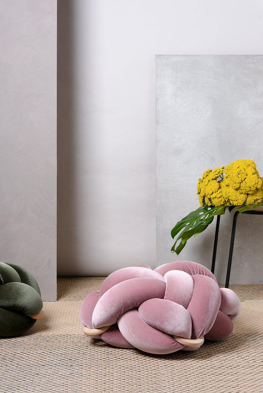 (M) Velvet blush pink knot floor cushion Floor cushions