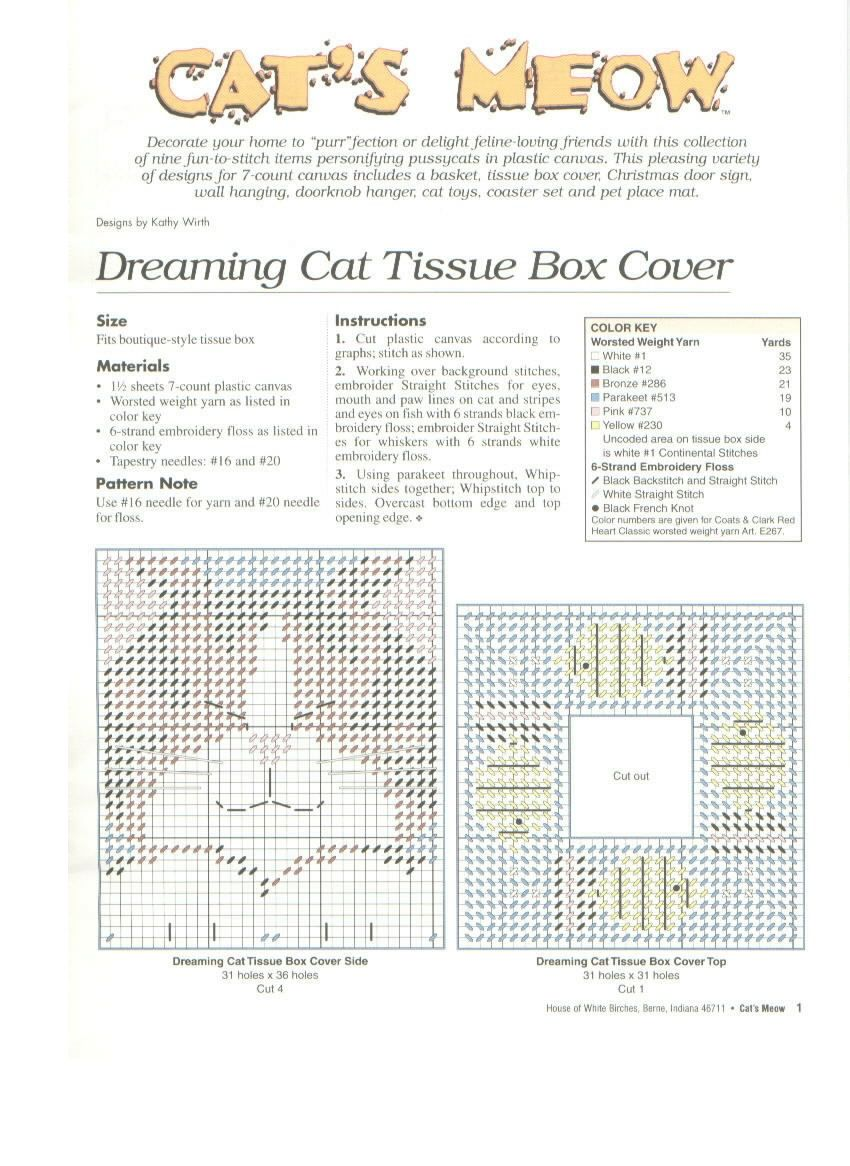 DREAMING CAT TISSUE BOX COVER by KATHY WIRTH 2/2 (FROM CAT'S