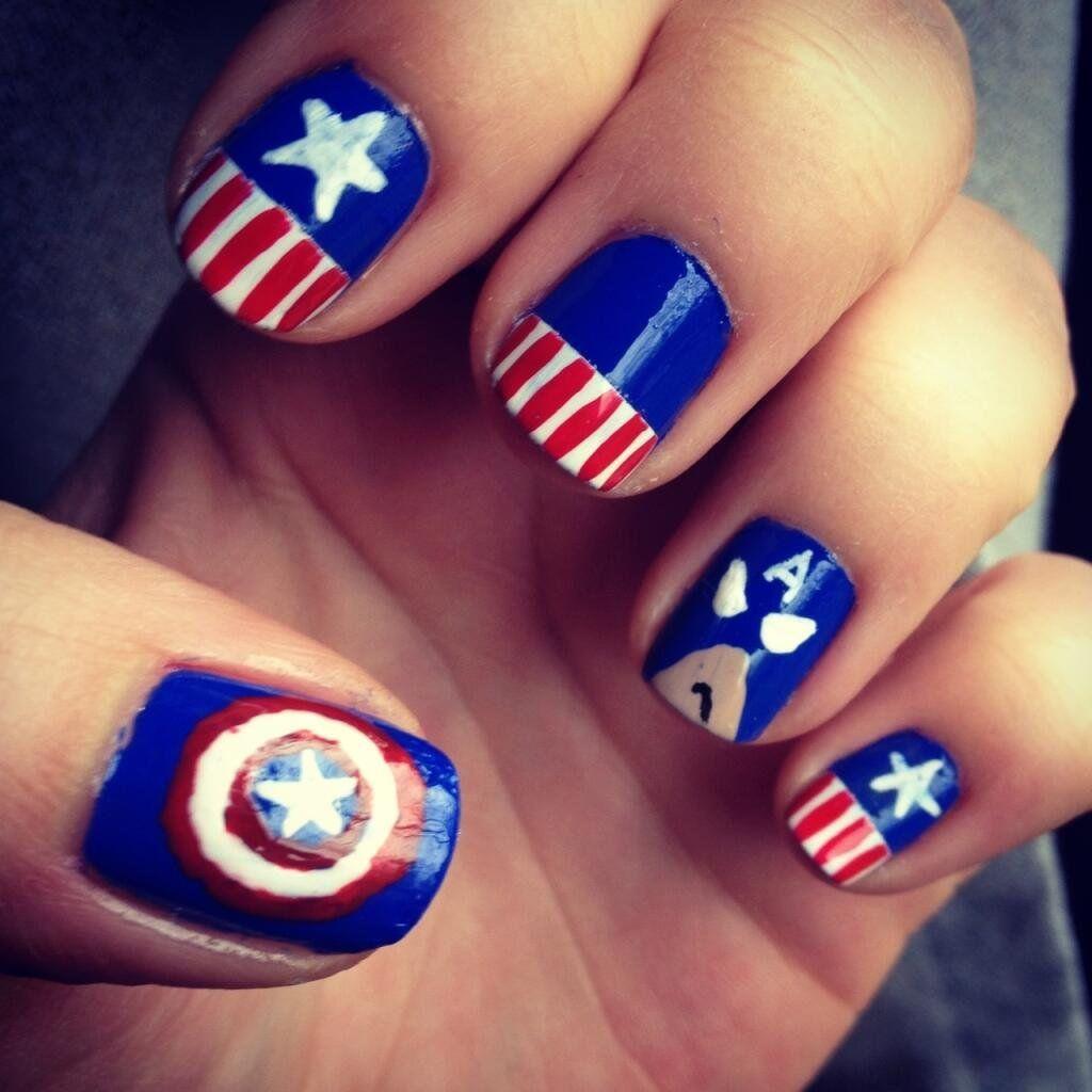 captain america nail art - Google keresés | 31 weeks - nail ...