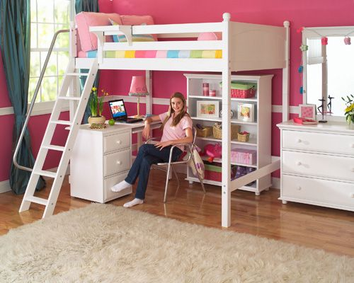 Girls Beds & Bedroom Ideas | Bunk bed with desk, White loft ...