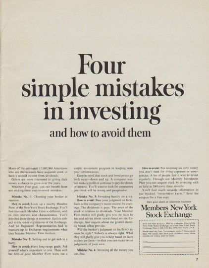 1963 Members New York Stock Exchange Vintage Ad Simple Mistakes