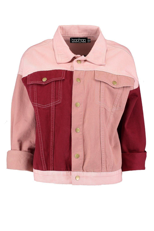 428c85f0fe Pink Colour Block Denim Jacket