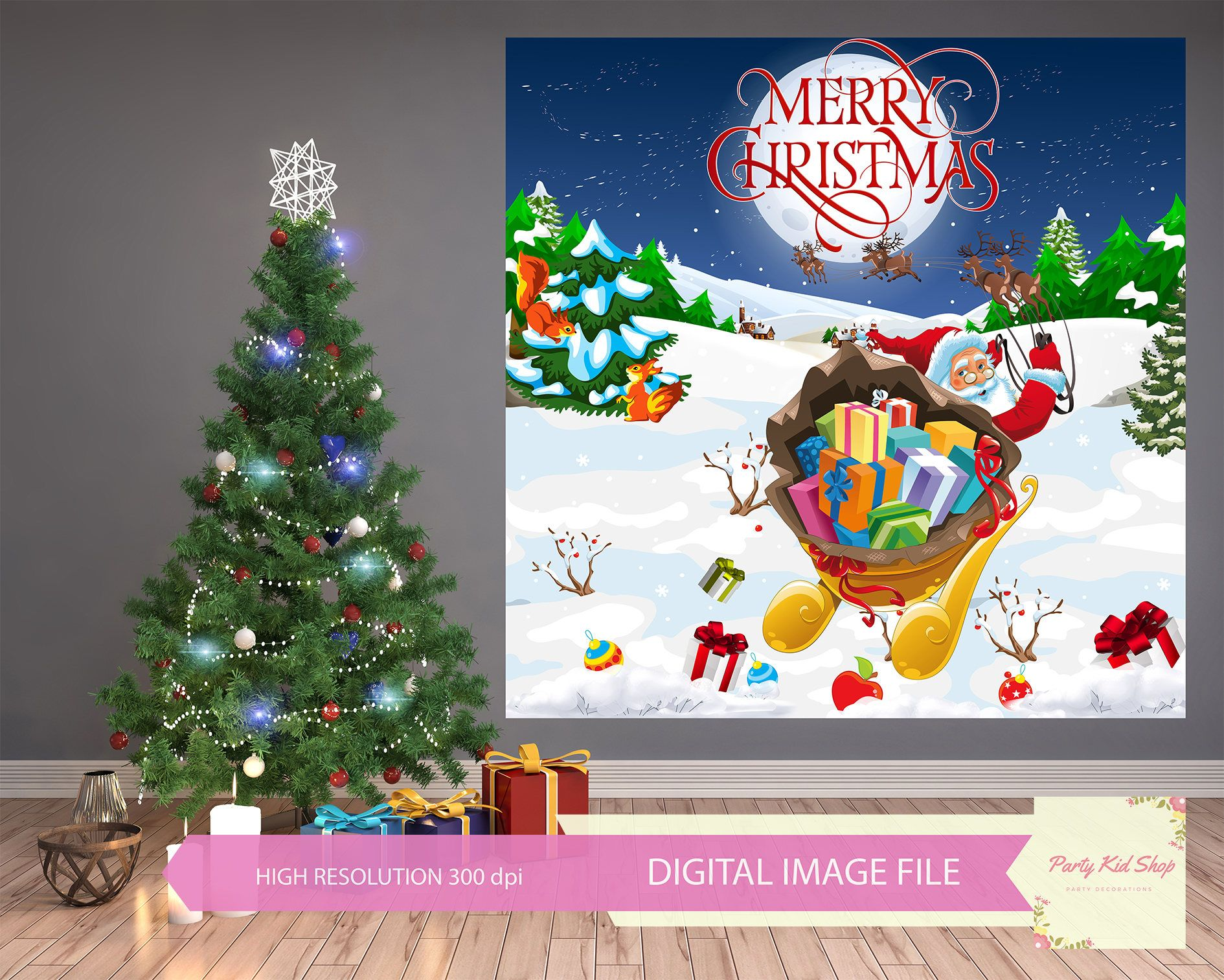 Christmas Backdrop Background Banner Party Decoration Digital Winter