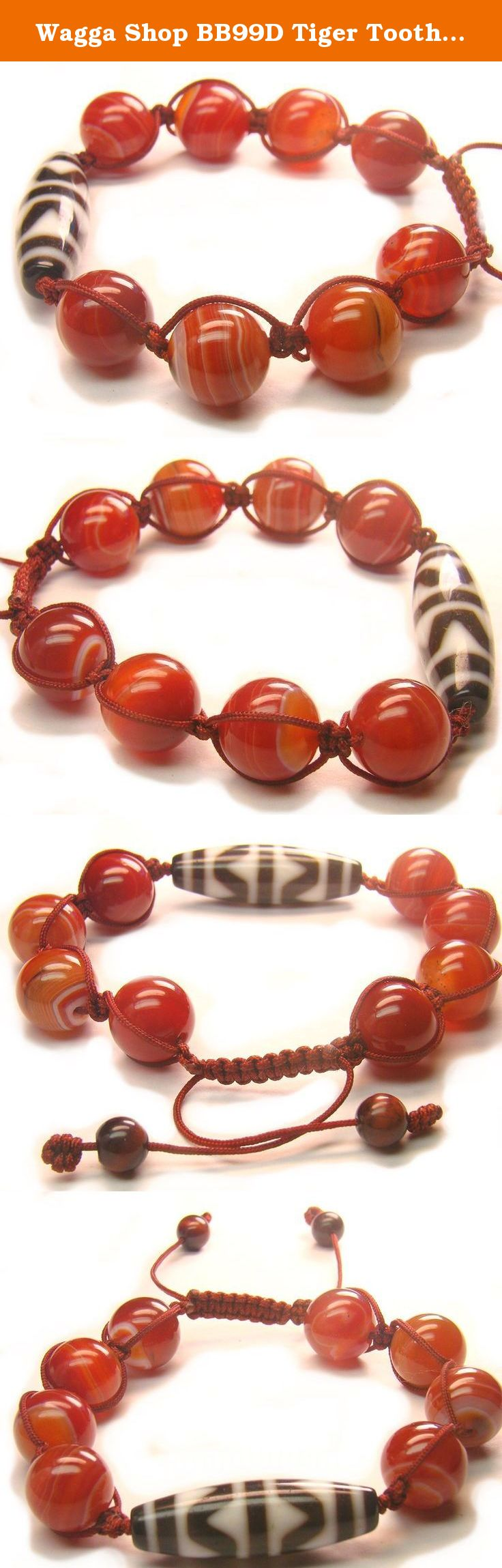 Wagga Shop BB99D Tiger Tooth Motif Tibetan New Dzi Bead 14mm Dark Red Banded Agate Beads Knot Bracelet, Women Bracelet. Tiger Tooth Motif Tibetan New Dzi Bead Bracelet with 14mm Dark Red Banded Round Agate Beads and in flexible wrist size Chinese Knot .