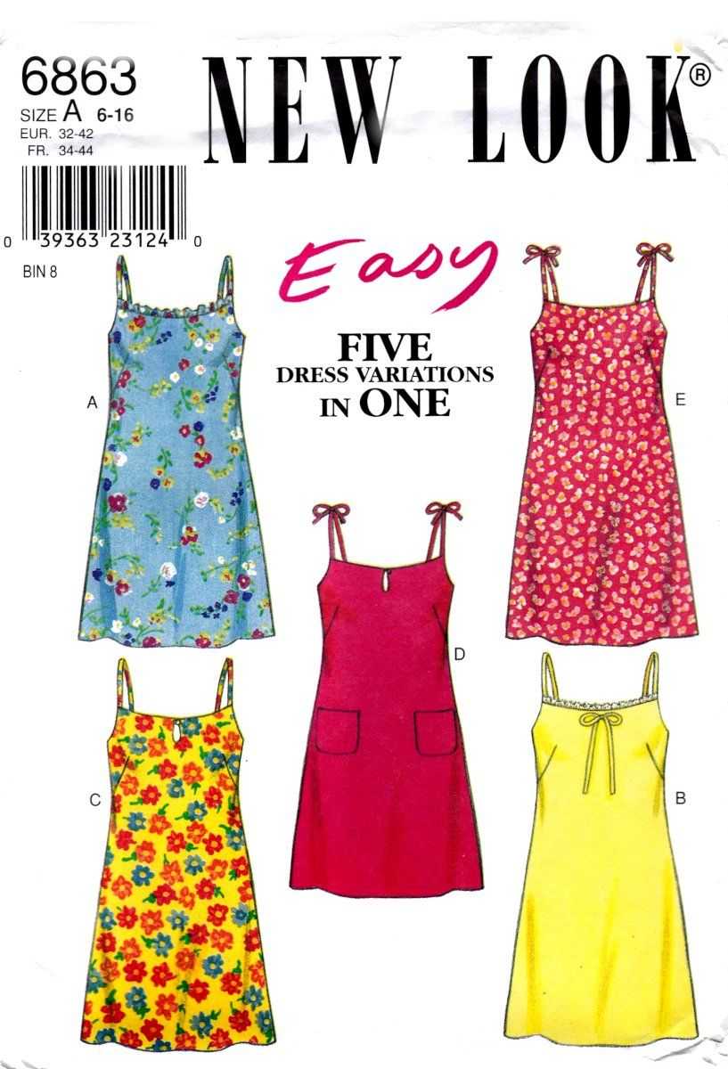 New Look 6863 Misses Dresses Spaghetti Strap Summer Sewing Pattern Easy Sizes 6 1 Easy Dress Sewing Patterns Summer Dress Sewing Patterns Sewing Summer Dresses [ 1200 x 817 Pixel ]
