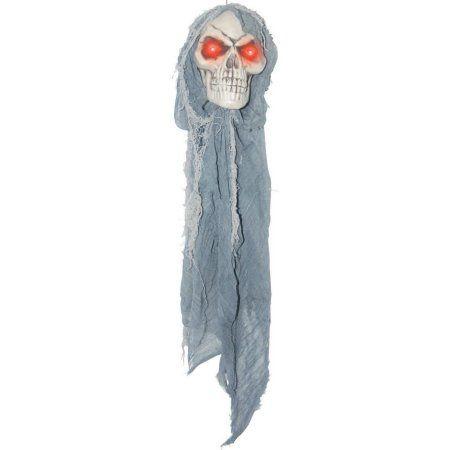 24 Inch Hanging Light UP Reaper Skull-Grey , Halloween Decoration - walmart halloween decorations