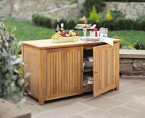 Outdoor Patio Furniture With Storage.Details About A Grade Teak Wood Pool Storage Box Chest Cabinet