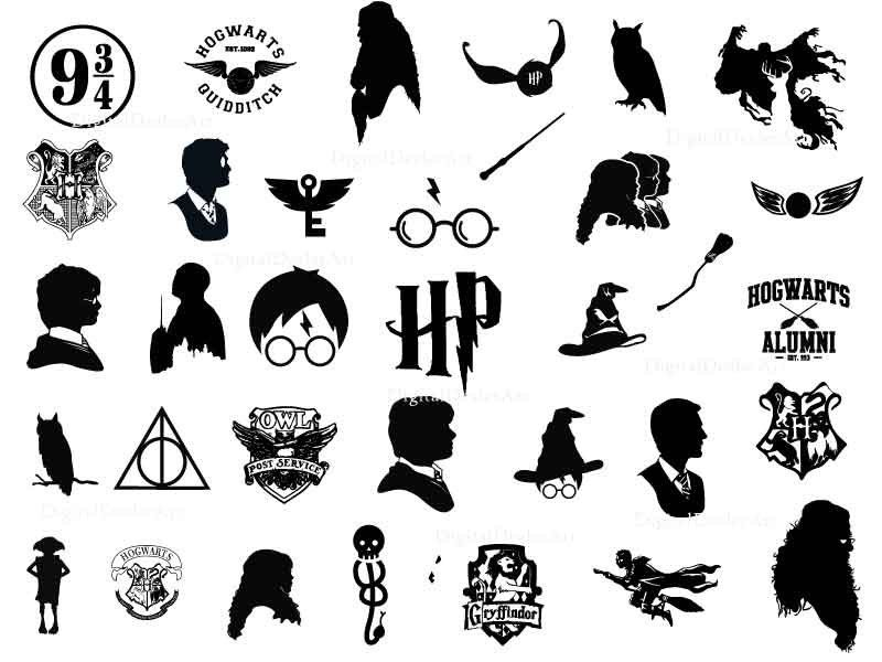 Harryp Inspired Harry P Svg Bundle Clipart Sillhouette Harry P Hogwarts Quidditch Dxf Png Harry Potter Logo Harry Potter Symbols Harry Potter Drawings