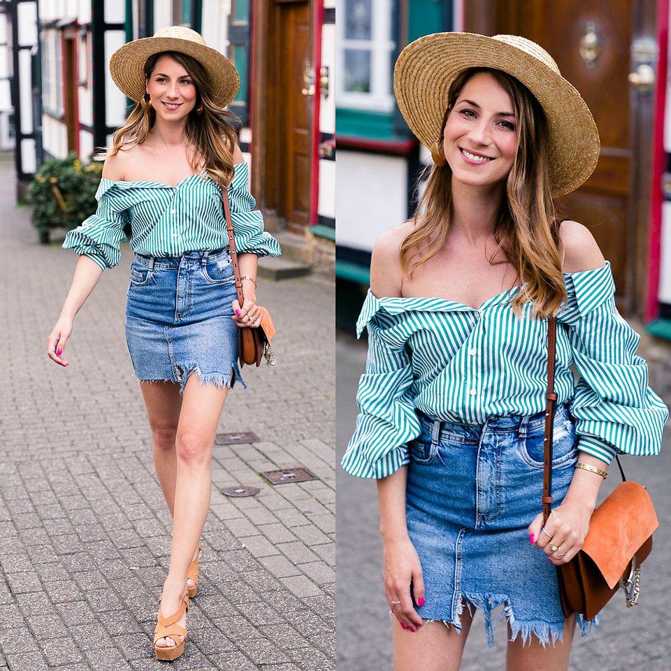 Stephanie Van Klev H&M Straw Hat, Zara Off The Shoulder