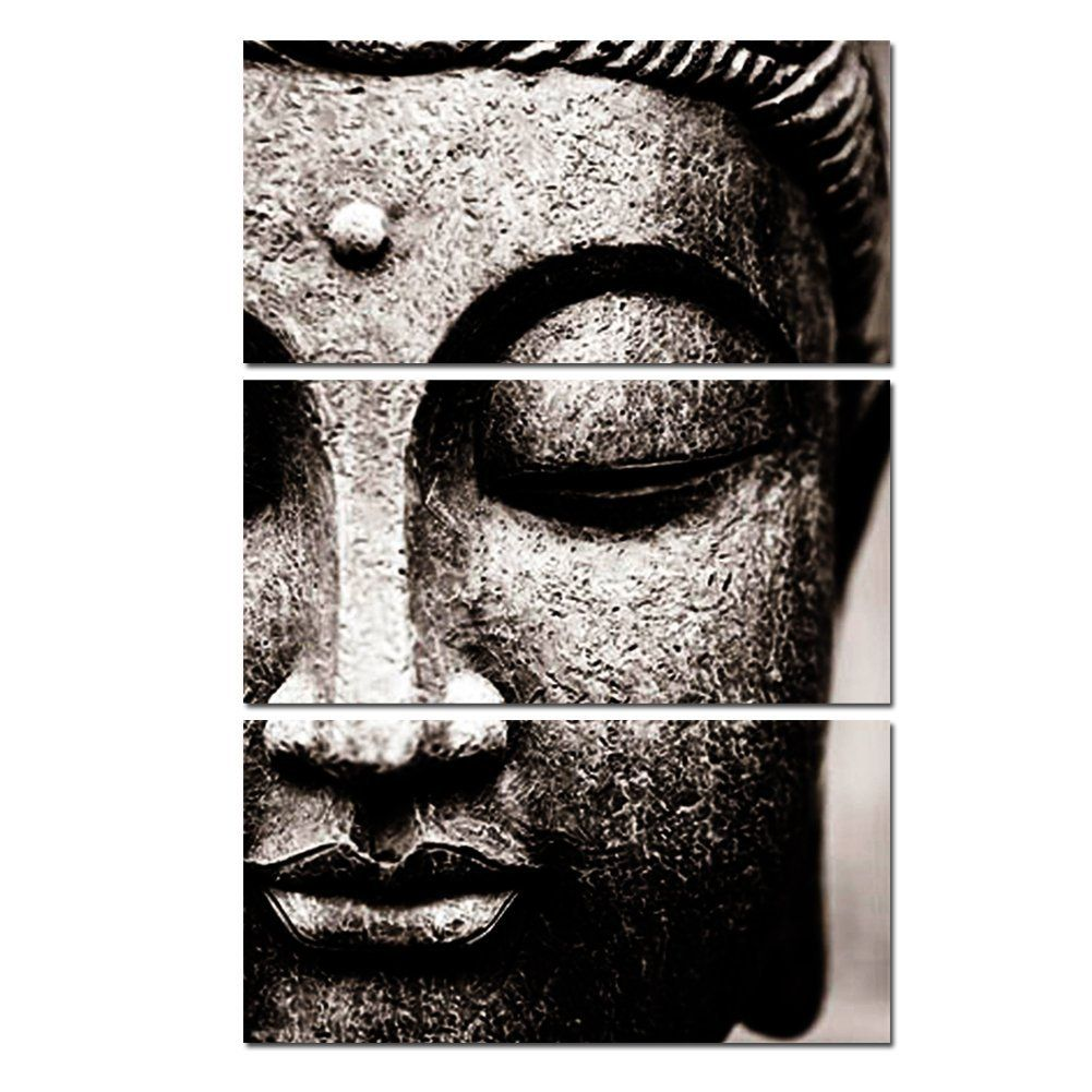 Fine Banmu Frameless Gray 3 Panel Modern Large Oil Style Buddha Home Interior And Landscaping Eliaenasavecom