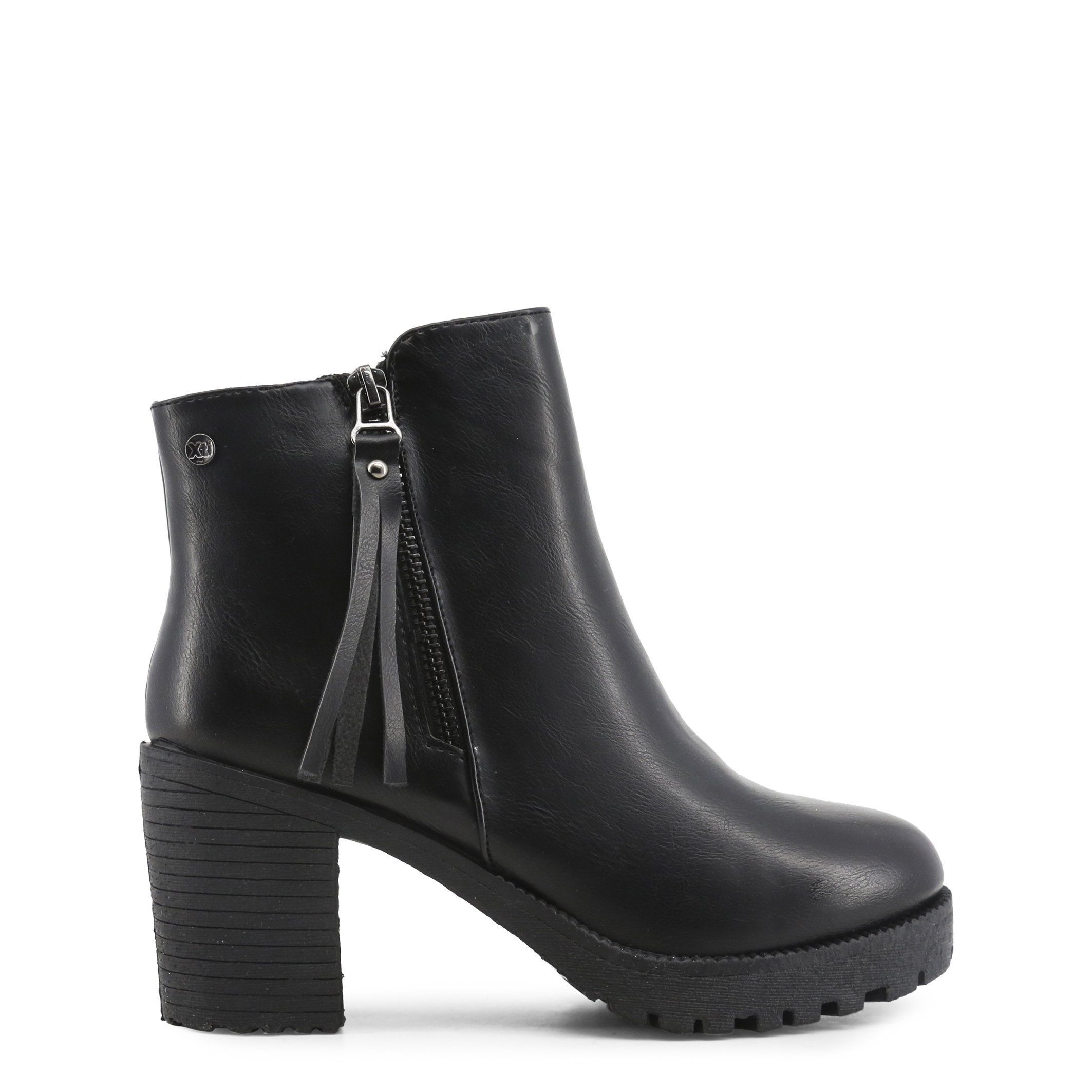 94e5d8dc Xti Ankle Boots With Tassel Zipper And Chunky Heels In Classic Black - 33859