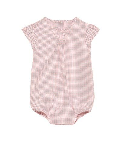 08e8fd882 Unisex baby checked poplin bloomer all-in-one Lait white / Multico set - Petit  Bateau