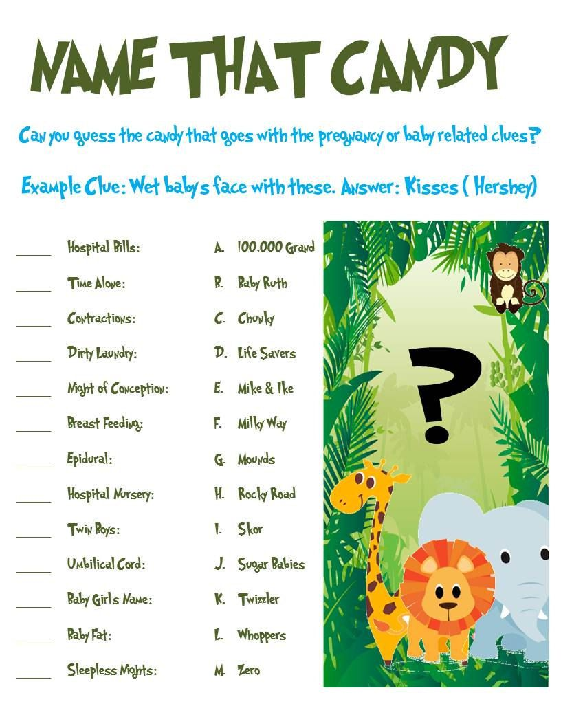 Jungle Animal Baby Shower Game Name That Candy. 3.00
