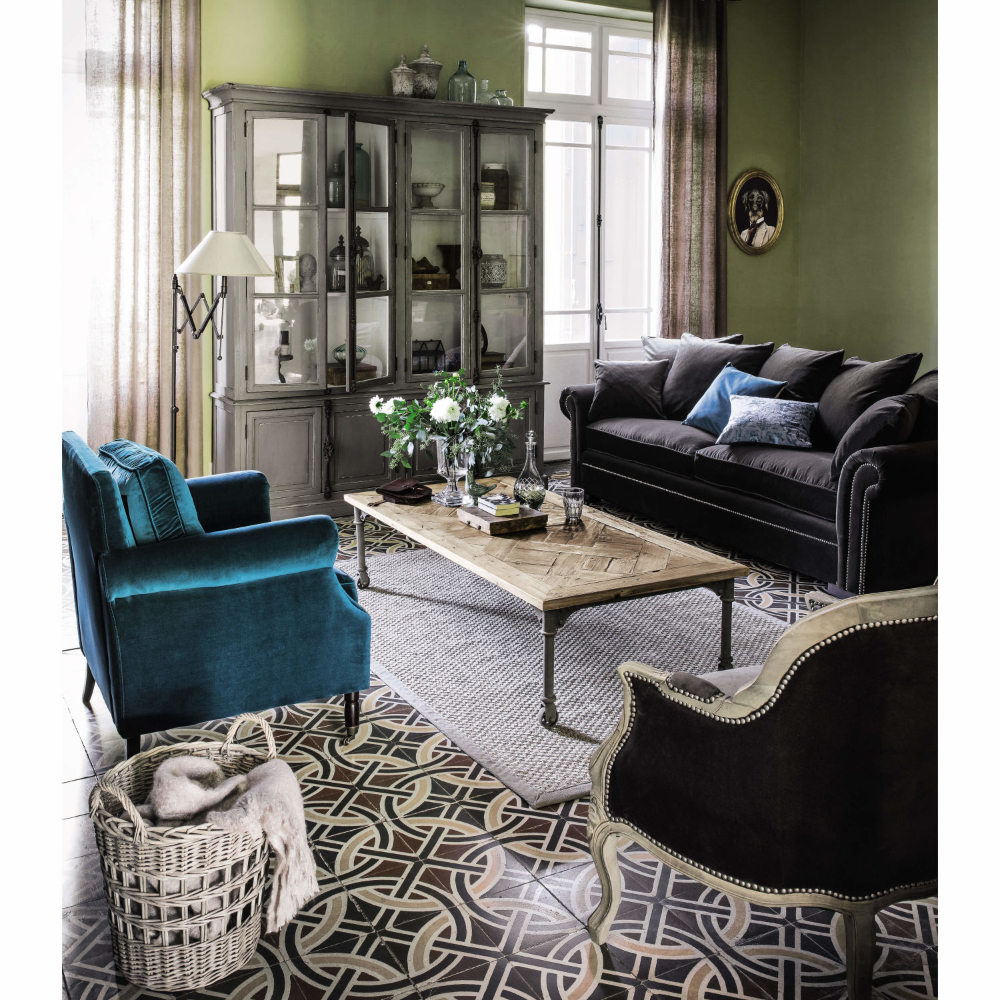 Maisons Du Monde Velvet Armchair Blue Wing Chair Front Room