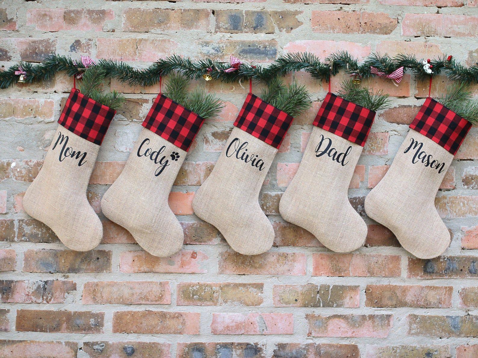 Buffalo Christmas Stockings Personalized Christmas Stockings Etsy Christmas Stockings Christmas Stockings Personalized Red Christmas Stockings