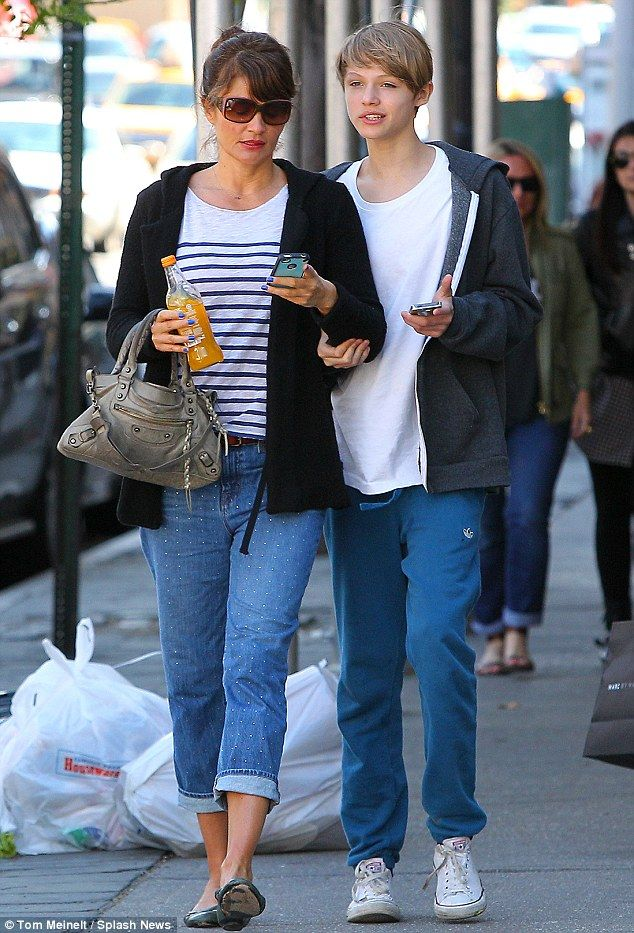 7ac4bdd17fc Close  Helena Christensen s son Mingus Lucien Reedus looked taller than his  mum as they spent the day together in New York on Sunday