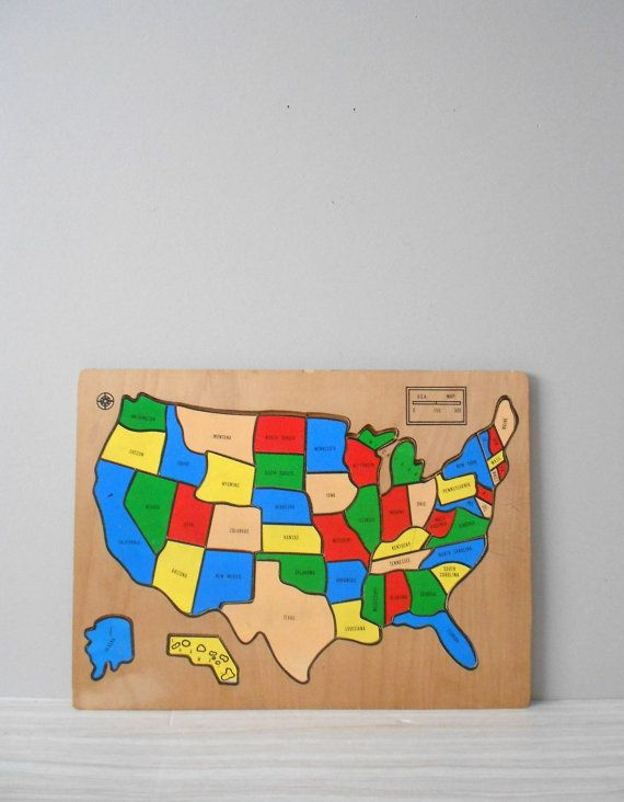 Vintage Wood Puzzle Map Of The Us United States America