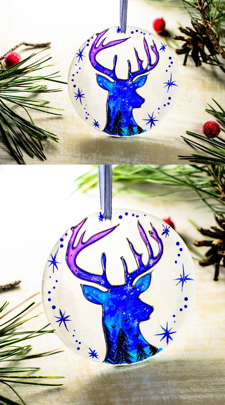 Personalized christmas ornament blue dear hand painted glass