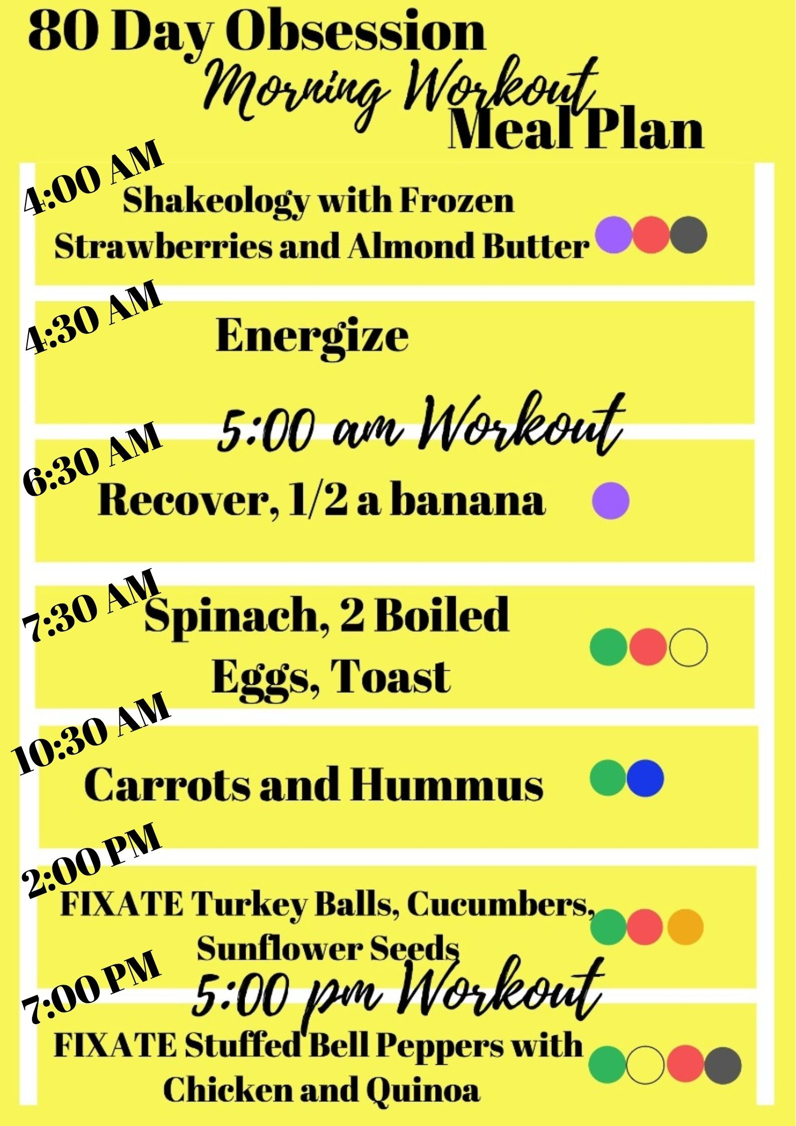 80 Day Obsession Meal Plan for MORNING workout while ...