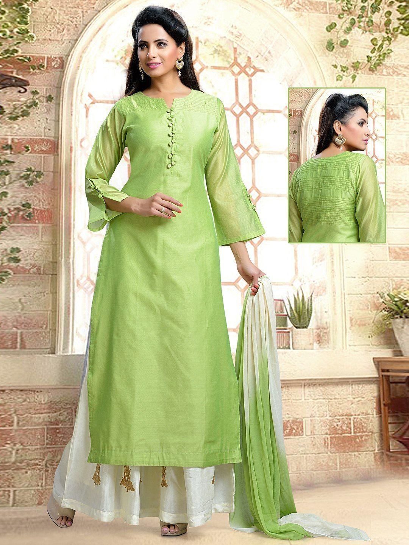 8d885c16e Green Plain Silk Plazzo Suit