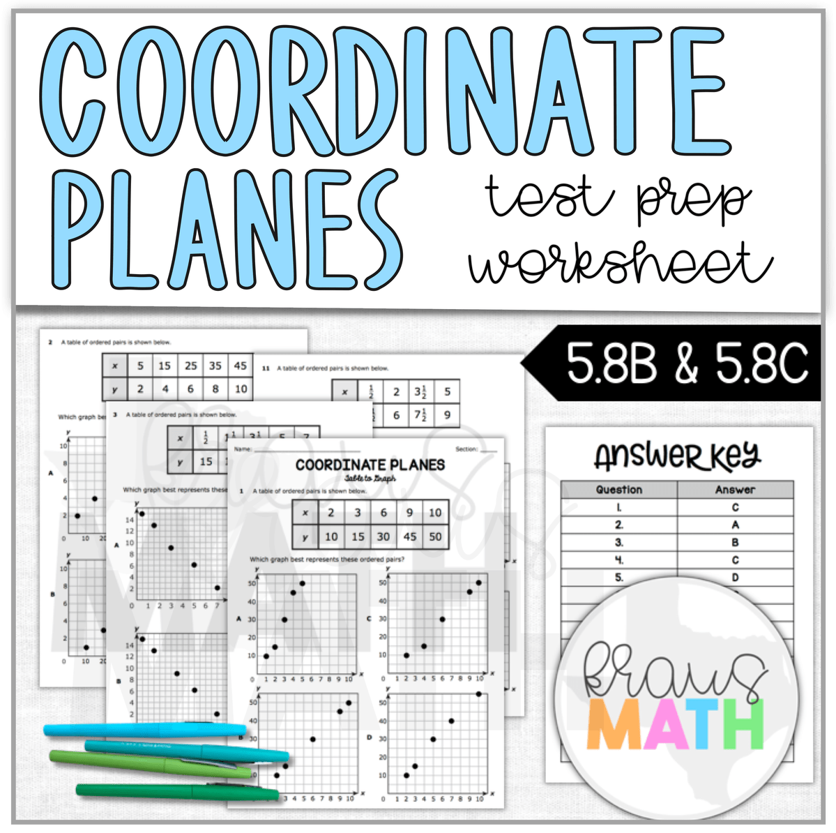 Coordinate Planes Worksheet Teks Aligned 5 8b Amp 5 8c