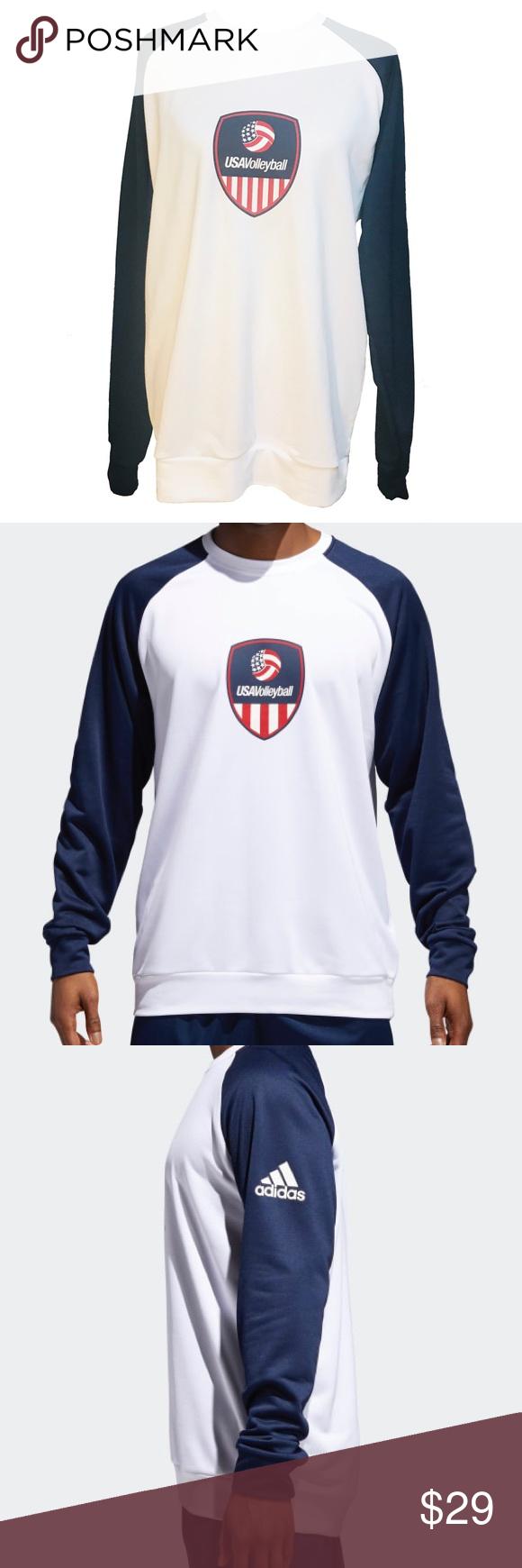 Adidas Usa Volleyball Sweatshirt White New Volleyball Sweatshirts Sweatshirts Crew Neck Sweatshirt