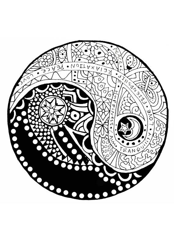 Adult coloring page yin yang yin yang coloring zen for Ying yang coloring pages