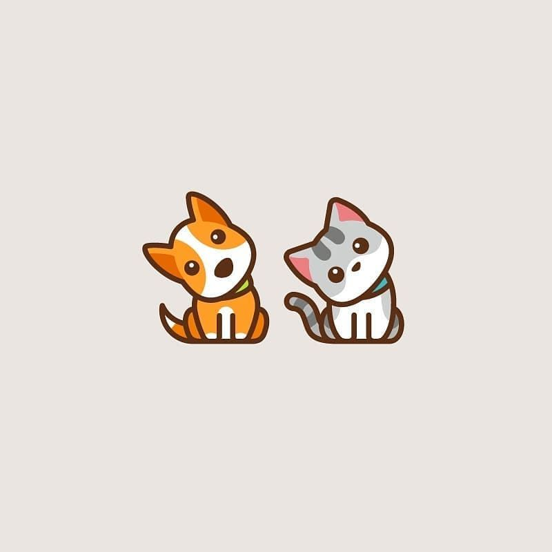 Cute Dog Cat Which One Would You Choose Tag Someone Who Ll Like This Creative Work By Vaneltia Design Cat Logo Design Cute Dog Drawing Cute Dog And Cat