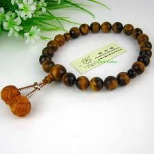Tigers eye prayer beads with knot tassels