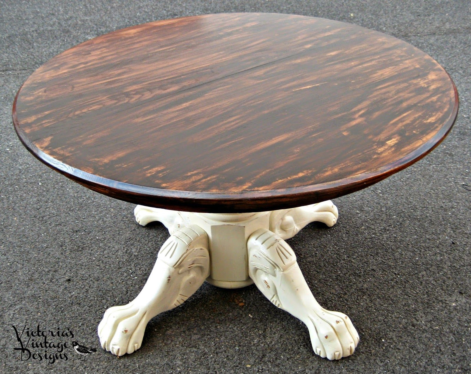 Victoria S Vintage Designs Oak Claw Foot Round Dining Table