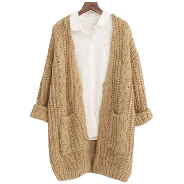 Chicnova Fashion V Neck Chunky Knit Cardigan (475 UAH) ❤ liked on ...