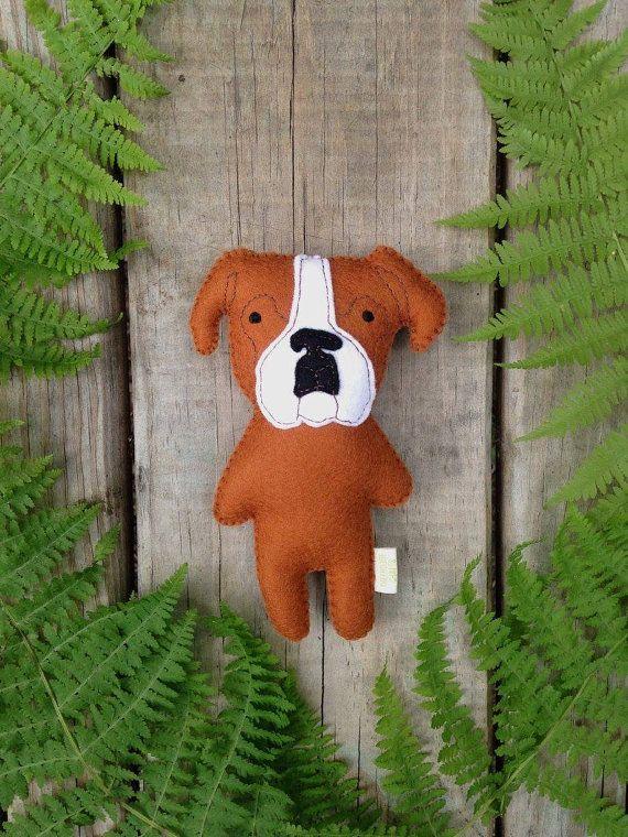 Felt Stuffed Boxer Dog Boxer Toy Stuffed Dog Custom Boxer Stuffed