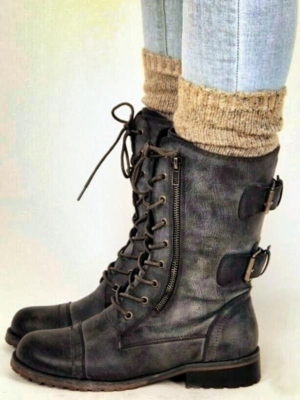 8aa77192654 mid calf lace up flat buckle Boots - mid calf lace up boots, mid ...