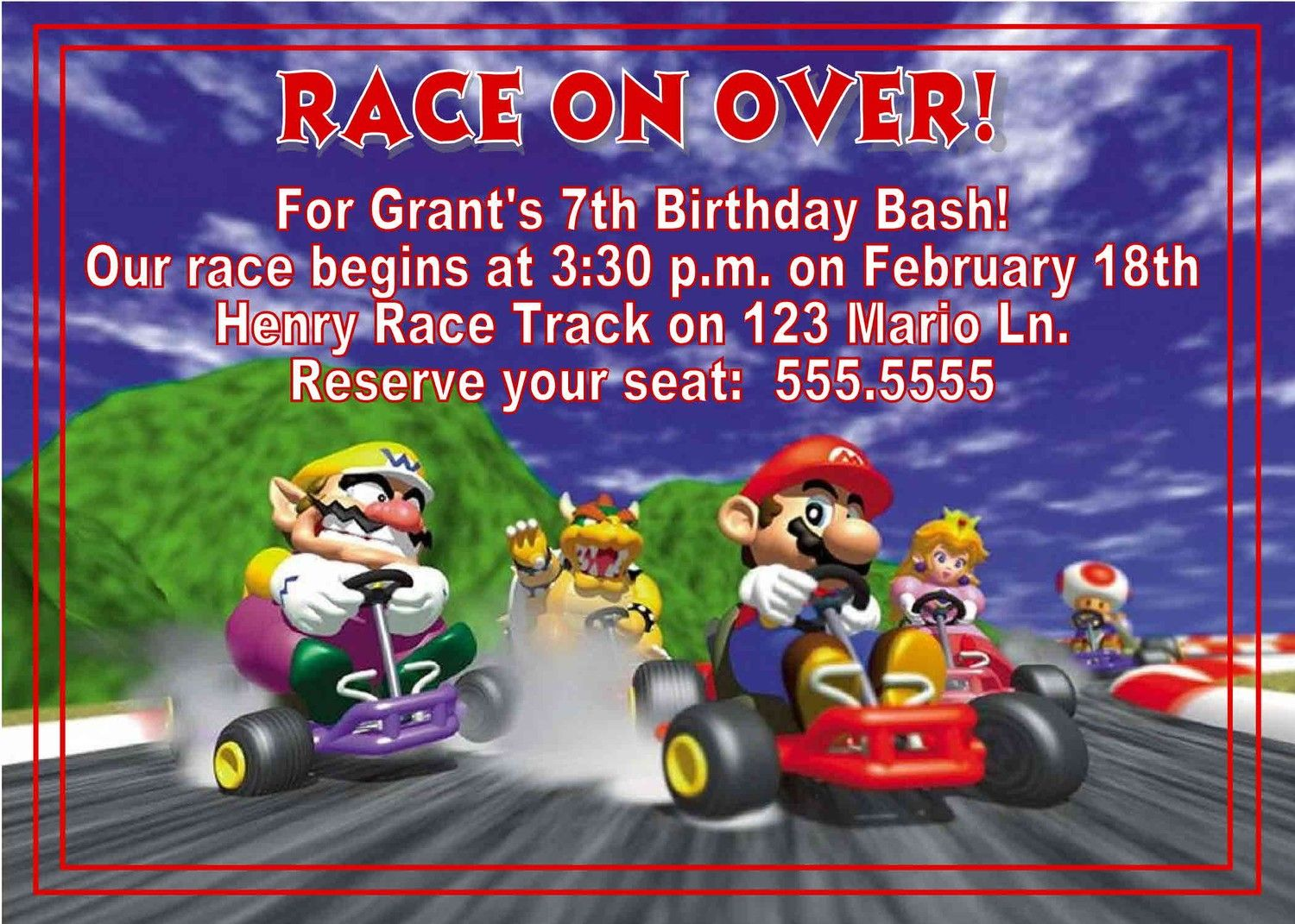 Mario Kart Birthday Party Invitations Digital Mario Kart Birthday